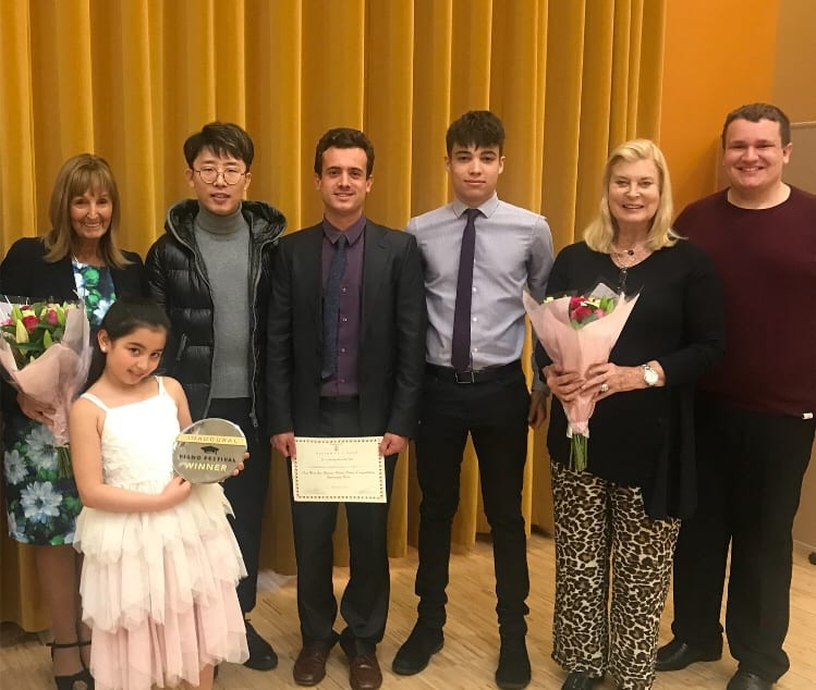 From Left to Right: Yvonne Behar, Gabriella Muradova, Ji Liu, Barnabas Jean-Barry Poggi, Lewis Grant, Doreen Tabor MBE and Benjamin Williams